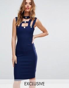 Платье-футляр с золотистыми пуговицами Vesper - Темно-синий