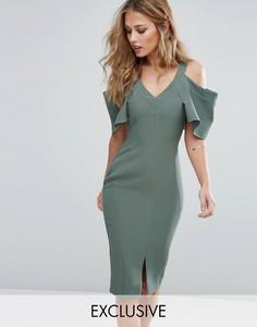 Платье-футляр с вырезами на плечах и рукавами рюшами Vesper - Зеленый