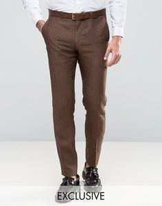 Льняные брюки скинни Heart & Dagger - Коричневый