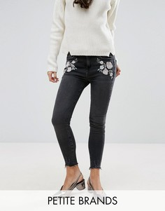 Джинсы скинни с вышивкой New Look Petite - Серый