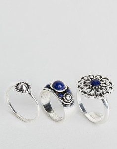 Набор из 3 колец с камнями DesignB - Серебряный
