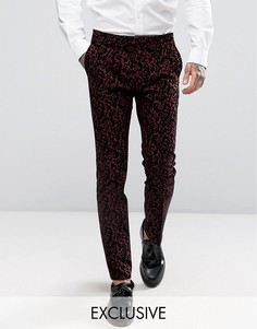 Супероблегающие брюки с цветочной флоковой отделкой Noose & Monkey - Красный