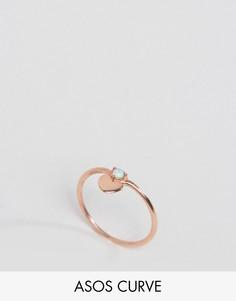 Кольцо из позолоченного серебра с сердечком ASOS CURVE - Медный