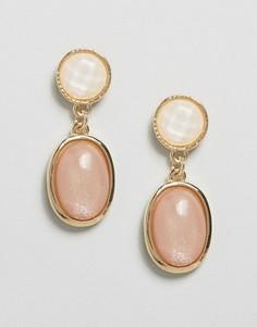 Серьги-подвески с бледно-розовыми камнями DesignB - Золотой