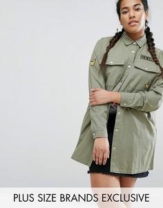 Жакет в стиле милитари с вышивкой Daisy Street Plus - Зеленый