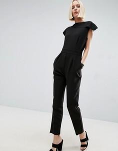 Асимметричный комбинезон с необработанными краями ASOS Tailored - Черный
