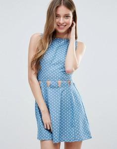 Платье из ткани шамбре в горошек Madam Rage - Синий