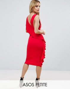 Платье миди с глубоким вырезом и оборкой ASOS PETITE - Красный
