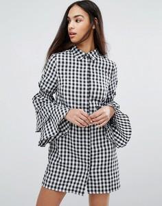 Платье-рубашка в клетку с ярусными рукавами Missguided - Мульти