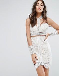 Кружевное облегающее платье с сетчатыми рукавами PrettyLittleThing - Мульти