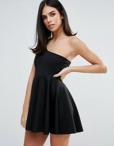 Короткое приталенное платье на одно плечо Unique 21 - Черный