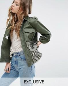 Куртка в стиле милитари с оборками Milk It Vintage - Зеленый