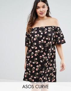 Платье с открытыми плечами и цветочным принтом ASOS CURVE - Мульти