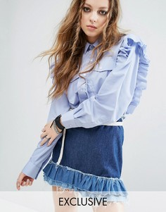 Рубашка с оборками в винтажном стиле Milk It - Синий
