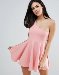 Короткое приталенное платье на одно плечо Unique 21 - Розовый