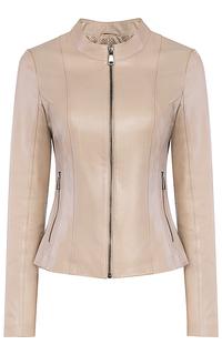 Бежевая кожаная куртка La Reine Blanche