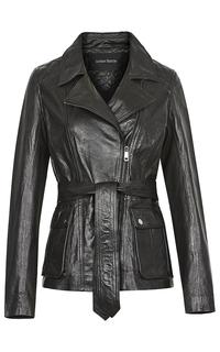 Удлинённая кожаная куртка с поясом La Reine Blanche