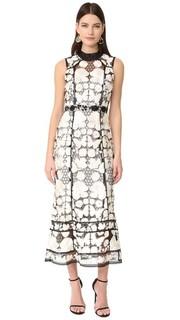 Вечернее платье без рукавов с цветочным рисунком Marchesa Notte