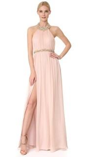 Вечернее платье из шифона с американской проймой Marchesa Notte