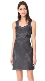 Приталенное платье из необработанного денима без рукавов Derek Lam 10 Crosby