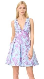 Металлизированное платье с цветочным рисунком и V-образным вырезом Marchesa Notte