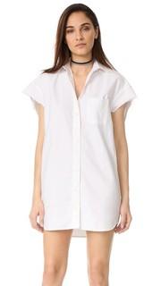 Объемное платье-рубашка из ткани оксфорд без рукавов R13