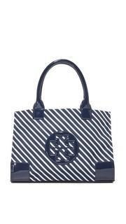 Нейлоновая миниатюрная объемная сумка с короткими ручками Ella в полоску Tory Burch
