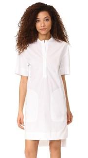 Платье с короткими рукавами и планкой до половины длины с потайными пуговицами Dkny