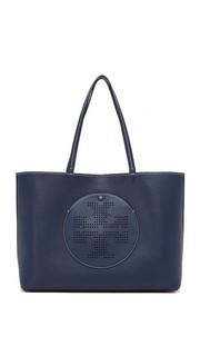 Объемная сумка с короткими ручками и перфорированным логотипом Tory Burch