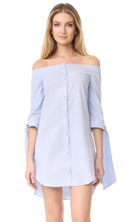 Полосатое платье с открытыми плечами English Factory