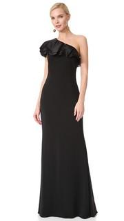 Вечернее платье с оборками и открытым плечом Badgley Mischka Collection