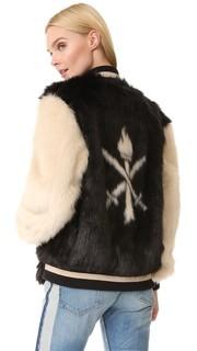 Куртка в университетском стиле из искусственного меха Opening Ceremony