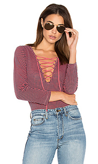 Skinny stripe lace up tee - Stateside