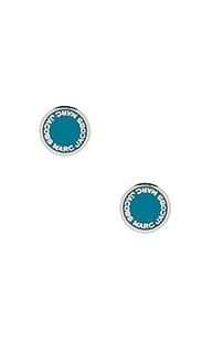 Эмалевые серьги в форме диска с логотипом - Marc Jacobs