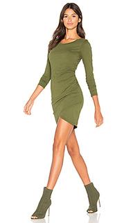 Мини платье с рюшами и длинным рукавом из высококачественной джерси - Bobi