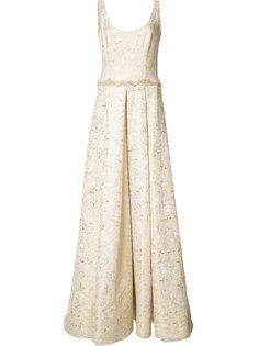 жаккардовое длинное платье Marchesa Notte
