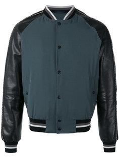 куртка бомбер с кожаными рукавами Lanvin