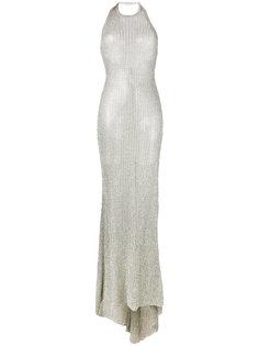 платье с вырезом-петлей халтер Balmain