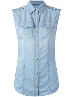 джинсовая рубашка без рукавов Balmain