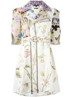 байкерское пальто с цветочным принтом Alexander McQueen