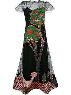 расклешенное платье с аппликацией Red Valentino