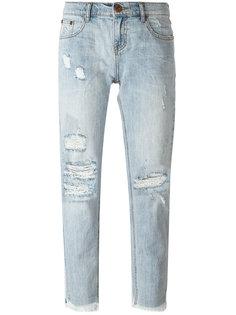 укороченные джинсы с потертой отделкой One Teaspoon