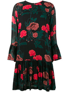 Floral Print Drop Hem Dress Ganni