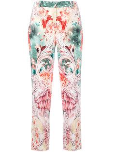 укороченные брюки с цветочным принтом Roberto Cavalli