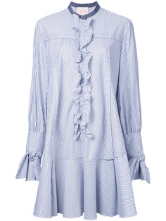 ruffled trim striped shirt dress  Roksanda