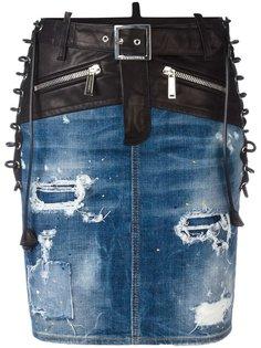 джинсовая юбка со шнуровкой Dsquared2