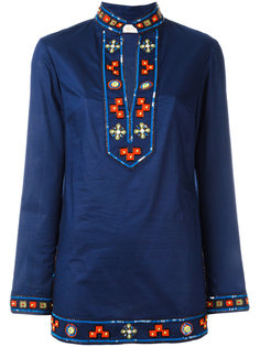embroidered open neck top  Tory Burch