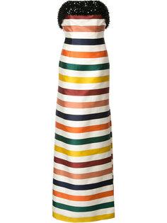полосатое длинное платье  Carolina Herrera
