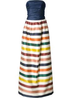 полосатое длинное платье-бюстье Carolina Herrera