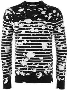 свитер в полоску с принтом разбрызганной краски Dior Homme